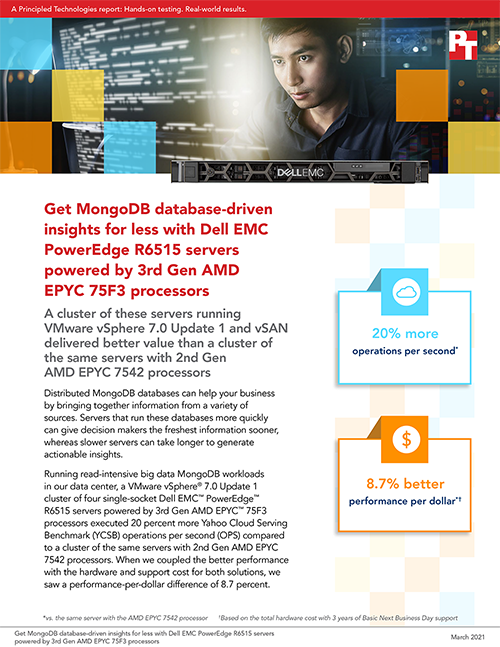 Principled Technologies Puts Dell EMC PowerEdge R6515 Servers to the Test with Read-Intensive MongoDB Workloads