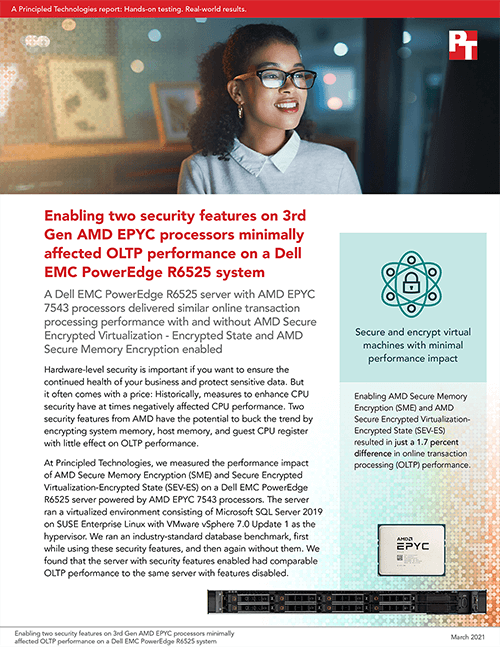 Two Security Features on 3rd Gen AMD EPYC 7543 Processors Minimally Affected OLTP Performance on a Dell EMC PowerEdge R7525 Server, Principled Technologies Study Says