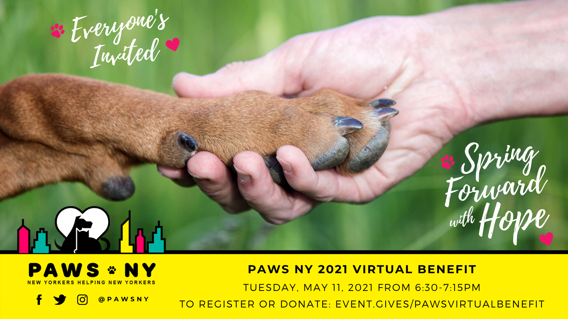 PAWS NY Hosts Virtual Benefit: Spring Forward with Hope