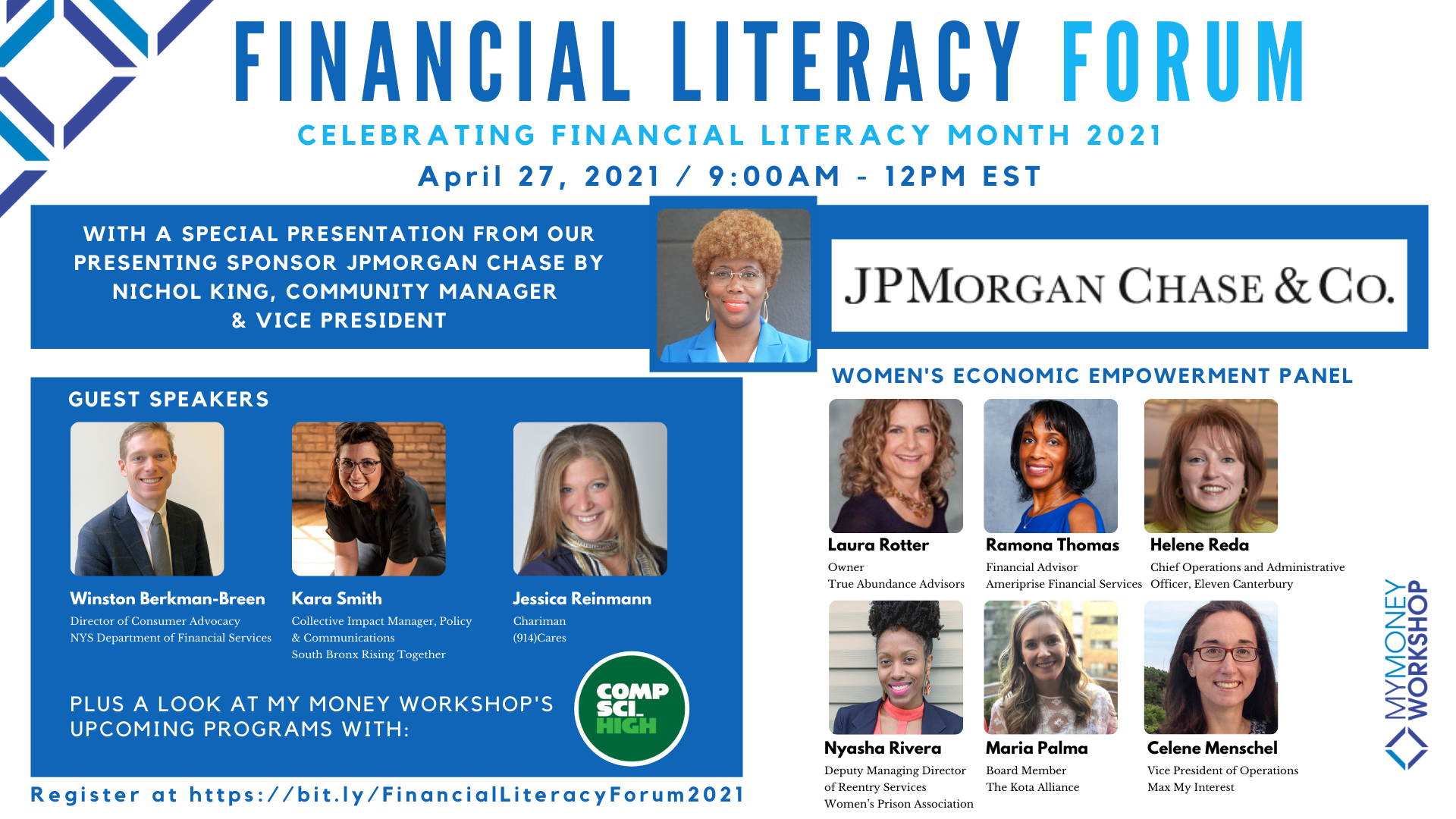 My Money Workshop Announces First-Ever Virtual Financial Literacy Forum Sponsored by JPMorgan Chase
