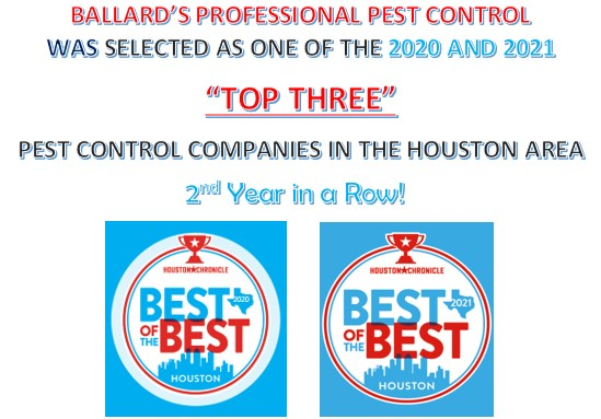 """Ballard's Professional Pest Control Beats Out Major Competitors; Local Mom and Pop Business Earns """"Top Three"""" Spot in Houston Area, Second Year in a Row"""