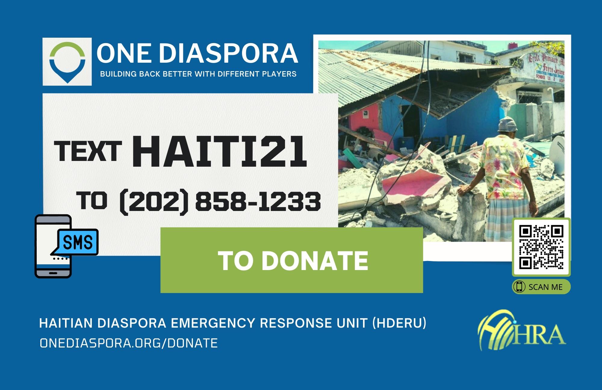 Haiti Renewal Alliance via OneDiaspora.Org Activates Emergency Response Unit for Haiti Earthquake 2021
