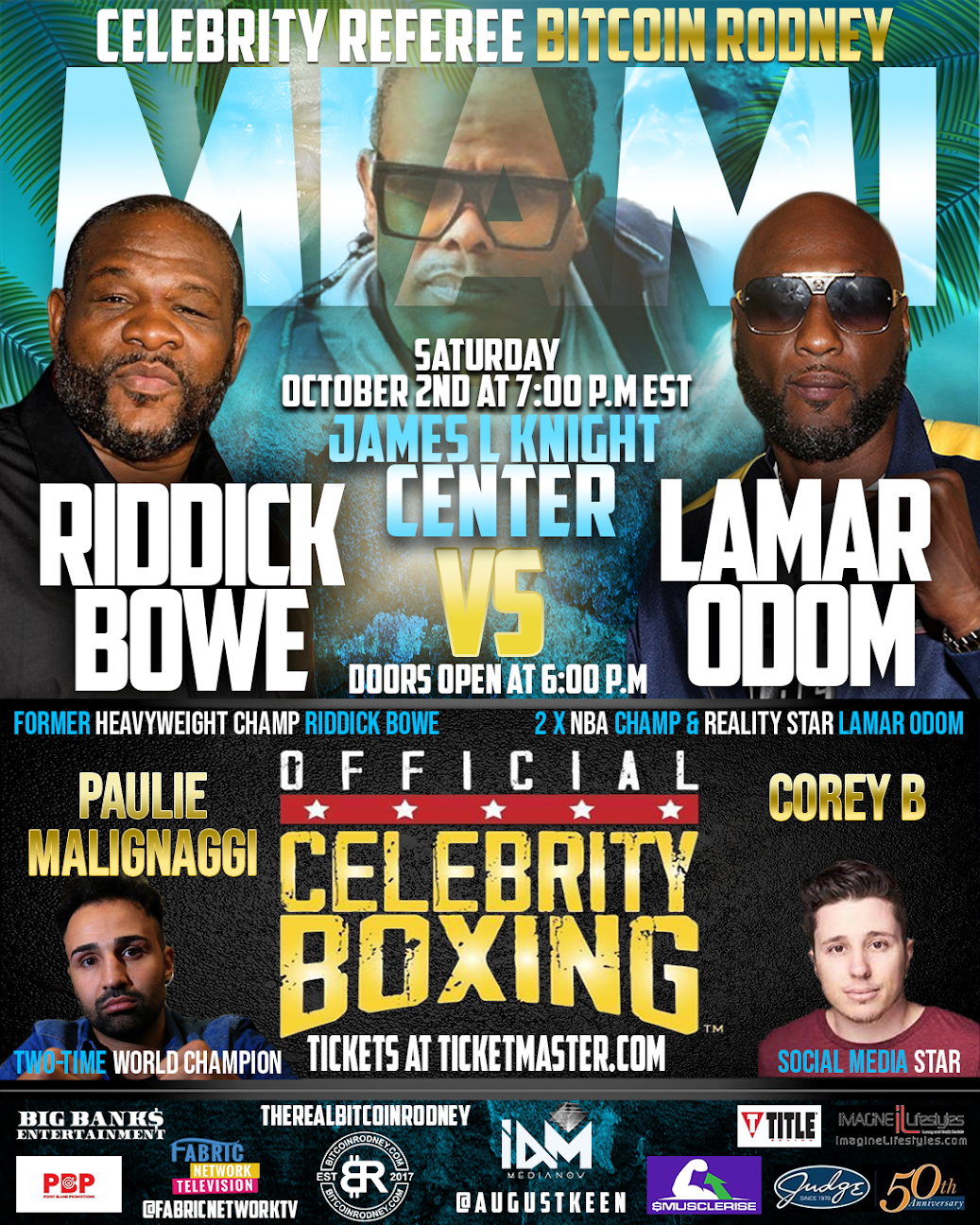 Celebrity Boxing to Hit Miami Aug. 11 for Press Conference of Recent Champion, 2x NBA Champ & Reality Star Lamar Odom vs Former Heavy Weight Boxing Champ, Riddick Bowe
