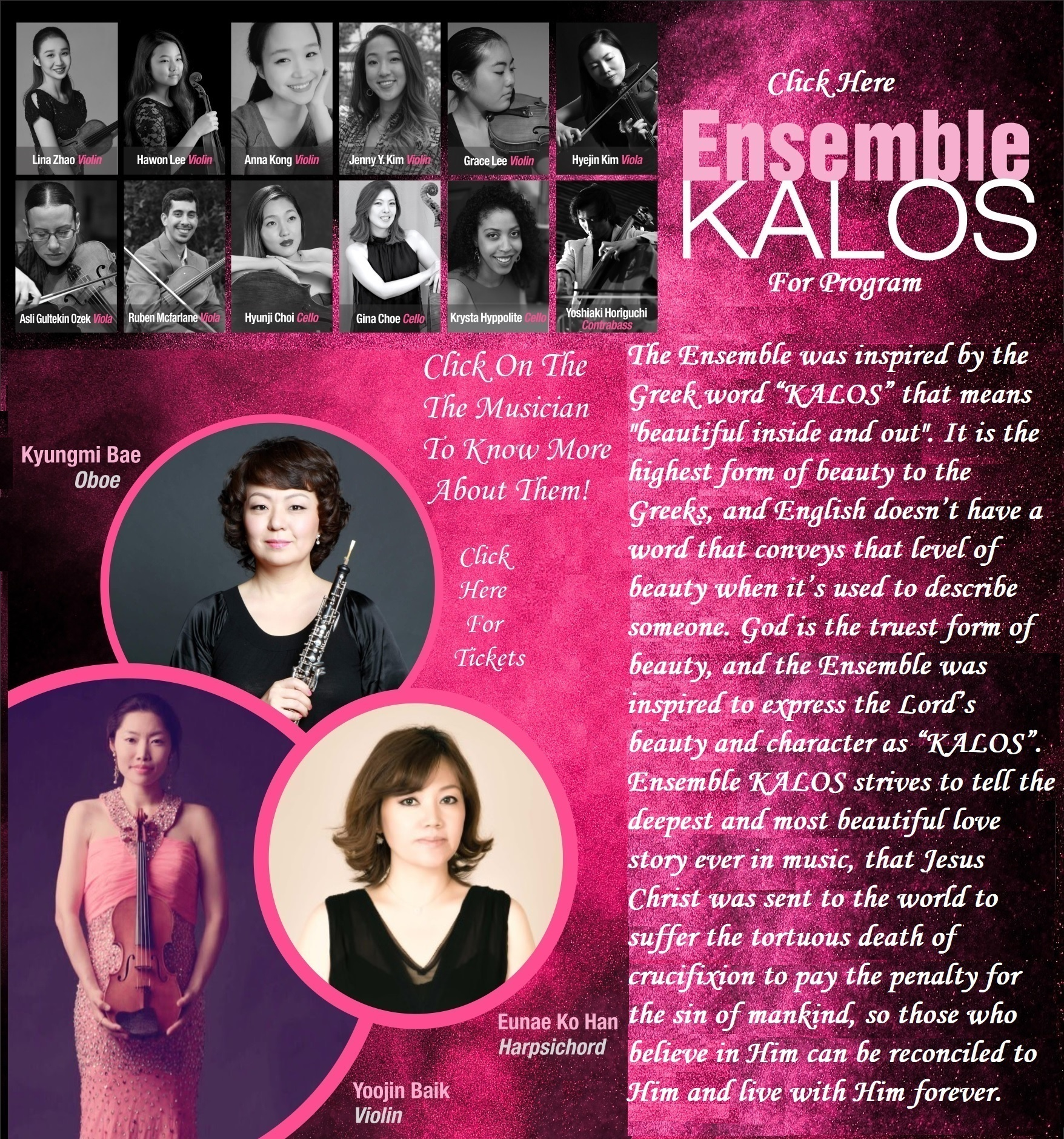 """Jin Violin Ministry Proudly Presents ENSEMBLE KALOS Bach Deep Pink Afternoon """"Blessed Assurance"""" Program"""
