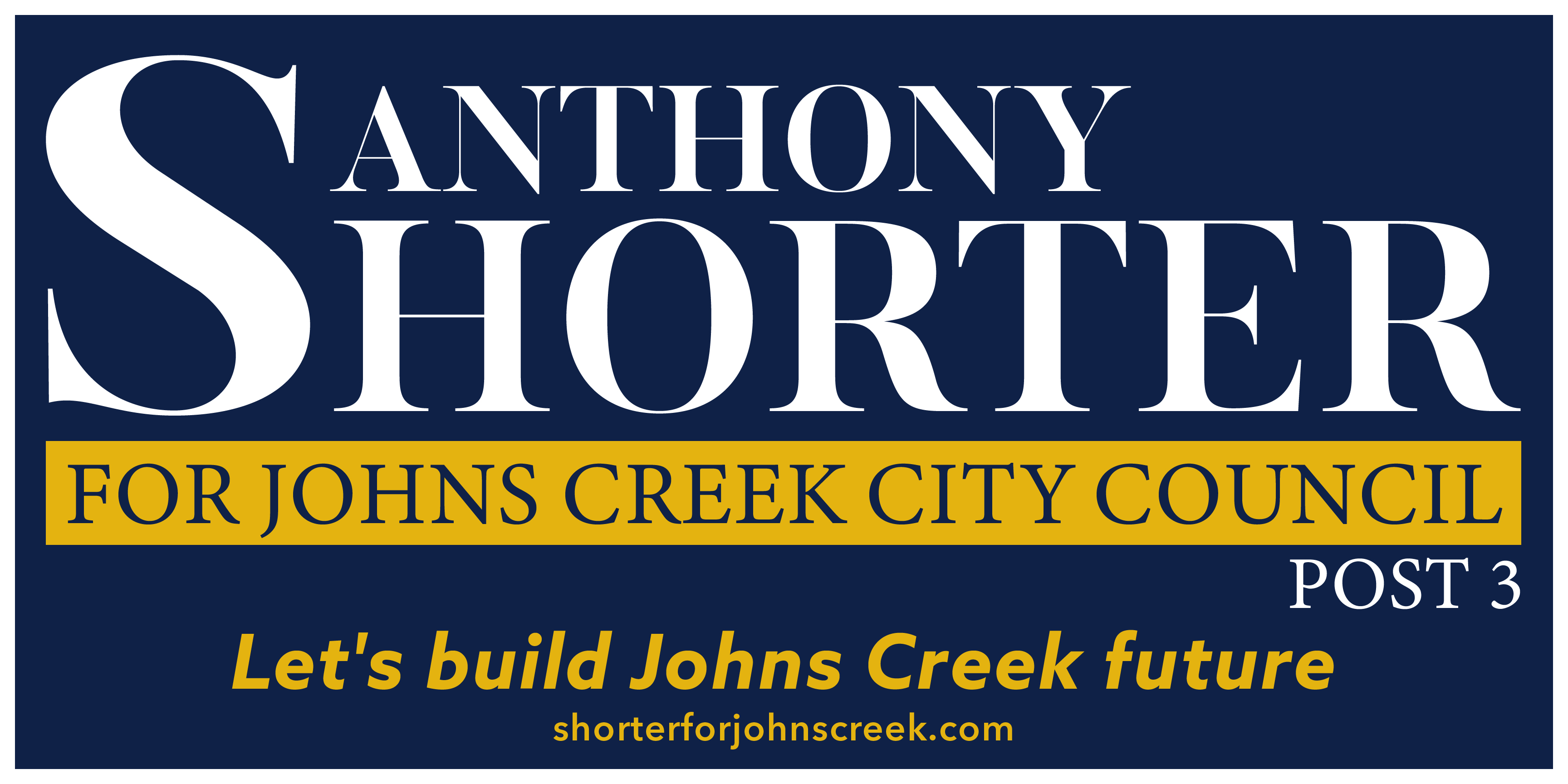 Anthony Shorter as Lead Candidate for  Johns Creek City Council – Post 3