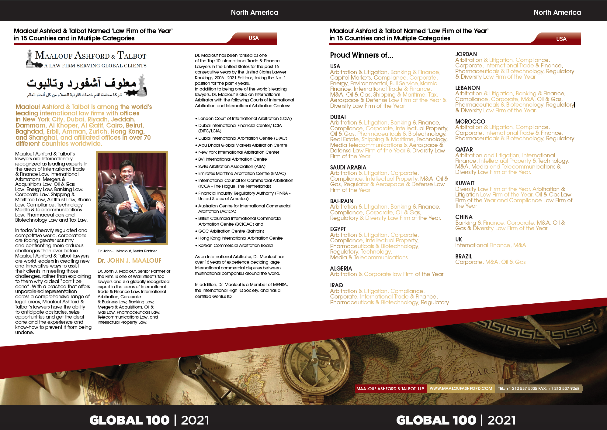 Maalouf Ashford & Talbot Has Been Named Law Firm of the Year for 2021 in 15 Countries