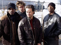 André Benjamin, Garrett Hedlund, Mark Wahlberg & Tyrese Gibson in Four Brothers