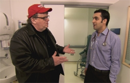 Michael Moore, Speaking with National Health Service Doctor in England in Sicko