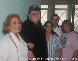 Michael Moore, Reggie Cervantes & Donna Smith with Cuban Doctors from SiCKO