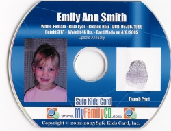 My Family CD / Safe Kids Card, Inc. Releases the First Do-It-Yourself CD ID Kit - the Next Generation of Child Identification