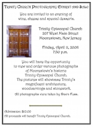 Trinity Church Photography Exhibit and Sale