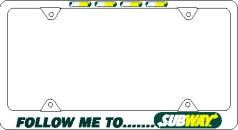 License Plate Frame Featuring Subway® logos