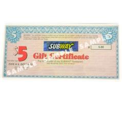 USA Gift Certificate Book to Subway® Restaurants