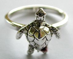 Silver jewelry for animal lover wholesale sterling silver ring with turtle pattern decor