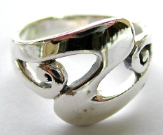 Sterling silver jewelry supplier online offering sterling silver ring with wavy Z shape spiral desig