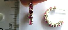 Multi mini pink color cz stone embedded C shape pattern design sterling silver earring