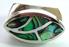 Designer jewelry silver sterling ring with abalone sea shell