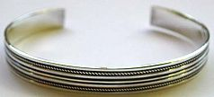 man silver jewelry - Line pattern design sterling silver bangle