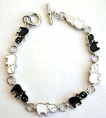 Jewelry for animal lovers fashion bracelet in multi enamel black and white sheep pattern design, wit