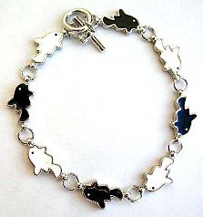 Fashion bracelet with toggle jewelry clasp for convenience closure in multi enamel black and white f
