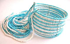 Multi blue and white beaded strings forming fashion bracelet bangle with multi beaded string dangles