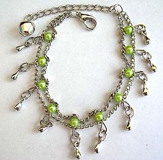 Fashion bracelet in double chain pattern design with multi greenish beads and mini water-drop shape