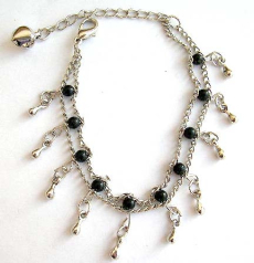 Fashion bracelet in double chain pattern design with multi black beads and mini water-drop shape sil