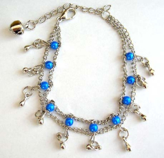 Fashion bracelet in double chain pattern design with multi blue beads and mini water-drop shape silv