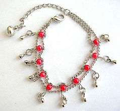 Fashion bracelet in double chain pattern design with multi red beads and mini water-drop shape silve