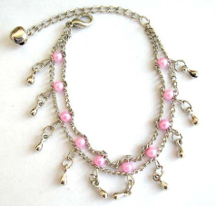 Fashion bracelet in double chain pattern design with multi pinkish beads and mini water-drop shape s