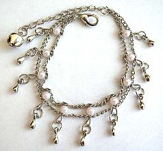 Double chain design fashion bracelet with multi white beads and mini water-drop shape silvery beads