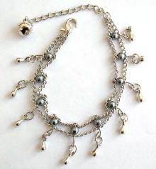 Double chain design fashion bracelet with multi grayish beads and mini water-drop shape silvery bead