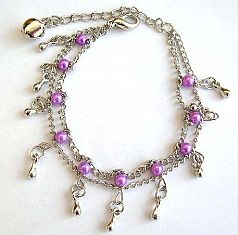 Fashion bracelet in double chain pattern design with multi purple color beads and mini water-drop sh