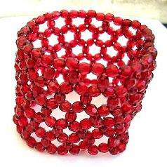 Multi red facet beads forming fashion wide band stretchy bracelet