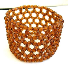 Multi brown facet beads forming fashion wide band stretchy bracelet