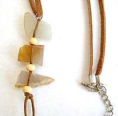 Fashion necklace in brown imitation leather string design with 3 natural stone pendant