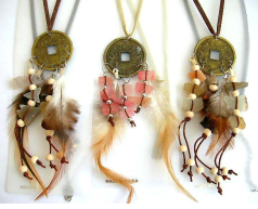 Fashion necklace in imitation leather string design with a coin pendant holding multi beaded strings