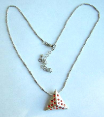 Fashion necklace with beaded chain holding a multi mini red cz embedded pyramid shape metal pendant