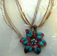 Multi brown strings fashion necklace with chain-in triple purple color triangle pendant at center