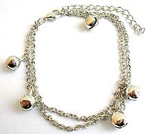 Fashion anklet in double twisted chain design with multi jiggle bells pattern decor