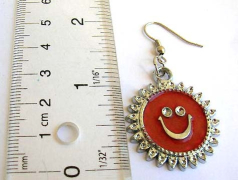 Contemporary jewellery wholesale Fashion fish hook earring with smiling sun pattern and enamel assor