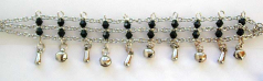 Black beaded 3 chains connected fashion bracelet with multi mini bells attached on bottom