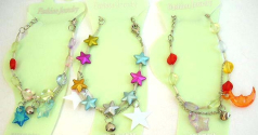 Making bead fashion jewelry wholesale Fashion anklet with star and round beads design with a chain h