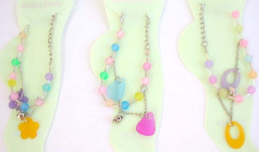Costume jewelry supply Heart and long oval shape beads with clear bead chips design in fashion ankle