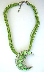 Fashion costume jewelry wholesale Fashion necklace with multi light green strings with heart shape c