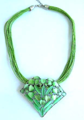 Contemporary jewelry gallery online wholesale Multi green strings fashion necklace with a green colo