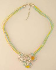 Fashion necklace supplier wholesale Fashion multi color necklace with triple circle pendant design a