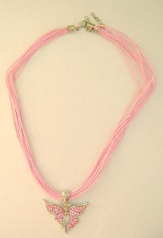 Custom fashion jewelry wholesaler Multi strings fashion necklace design with ice pink cz flying butt