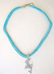 Fall 2005 jewelry wholesale Fashion necklace with multi strings and double playing dolphin with blue