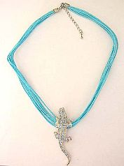 Discount fashion jewelry importer supply Multi strings fashion necklace with gecko and blue cz embed